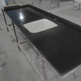 black solid surface countertop